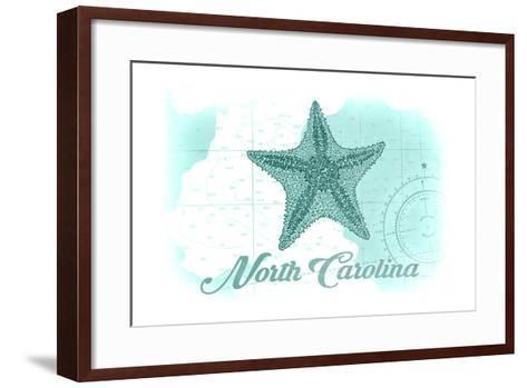 North Carolina - Starfish - Teal - Coastal Icon-Lantern Press-Framed Art Print