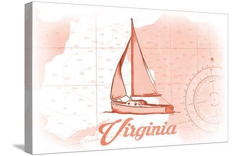Virginia - Sailboat - Coral - Coastal Icon-Lantern Press-Stretched Canvas Print