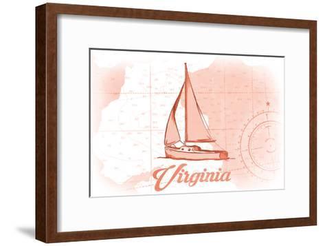 Virginia - Sailboat - Coral - Coastal Icon-Lantern Press-Framed Art Print