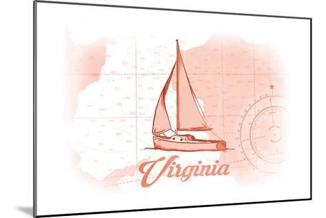 Virginia - Sailboat - Coral - Coastal Icon-Lantern Press-Mounted Art Print