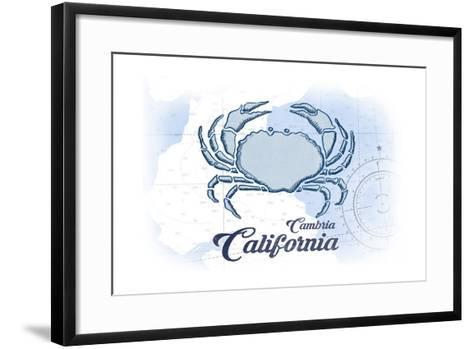 Cambria, California - Crab - Blue - Coastal Icon-Lantern Press-Framed Art Print