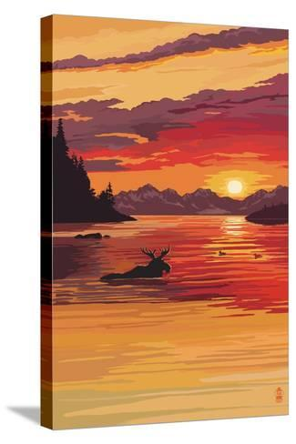 Moose at Sunset (Image Only)-Lantern Press-Stretched Canvas Print