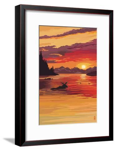 Moose at Sunset (Image Only)-Lantern Press-Framed Art Print