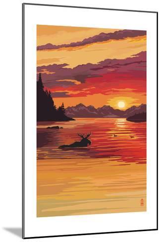 Moose at Sunset (Image Only)-Lantern Press-Mounted Art Print