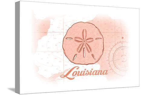 Louisiana - Sand Dollar - Coral - Coastal Icon-Lantern Press-Stretched Canvas Print