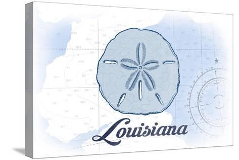 Louisiana - Sand Dollar - Blue - Coastal Icon-Lantern Press-Stretched Canvas Print