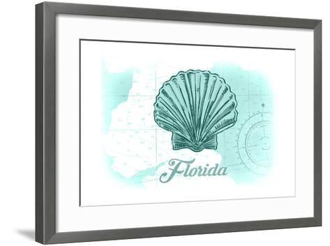 Florida - Scallop Shell - Teal - Coastal Icon-Lantern Press-Framed Art Print