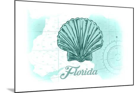 Florida - Scallop Shell - Teal - Coastal Icon-Lantern Press-Mounted Art Print