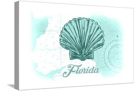 Florida - Scallop Shell - Teal - Coastal Icon-Lantern Press-Stretched Canvas Print