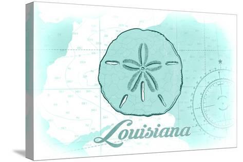 Louisiana - Sand Dollar - Teal - Coastal Icon-Lantern Press-Stretched Canvas Print