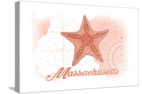 Massachusetts - Starfish - Coral - Coastal Icon-Lantern Press-Stretched Canvas Print