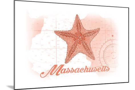 Massachusetts - Starfish - Coral - Coastal Icon-Lantern Press-Mounted Art Print