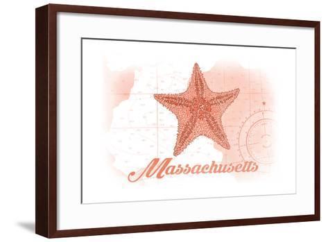 Massachusetts - Starfish - Coral - Coastal Icon-Lantern Press-Framed Art Print
