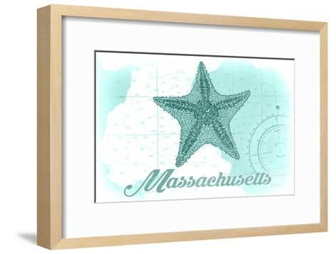 Massachusetts - Starfish - Teal - Coastal Icon-Lantern Press-Framed Art Print