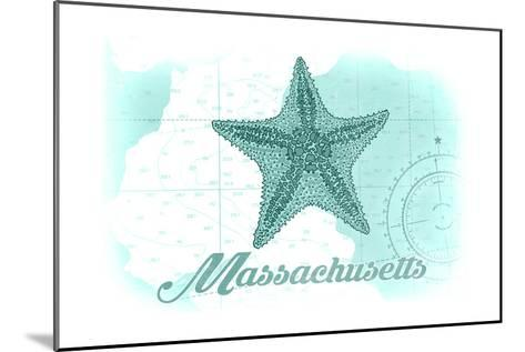 Massachusetts - Starfish - Teal - Coastal Icon-Lantern Press-Mounted Art Print