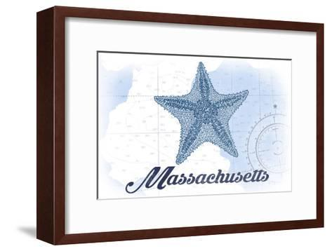 Massachusetts - Starfish - Blue - Coastal Icon-Lantern Press-Framed Art Print