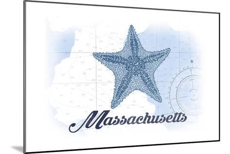 Massachusetts - Starfish - Blue - Coastal Icon-Lantern Press-Mounted Art Print