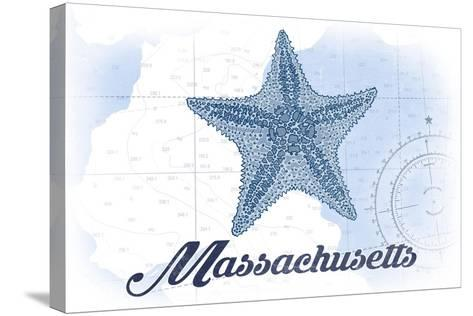 Massachusetts - Starfish - Blue - Coastal Icon-Lantern Press-Stretched Canvas Print