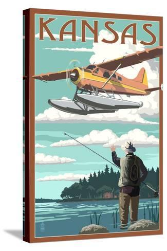 Kansas - Float Plane and Fisherman-Lantern Press-Stretched Canvas Print