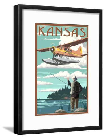 Kansas - Float Plane and Fisherman-Lantern Press-Framed Art Print