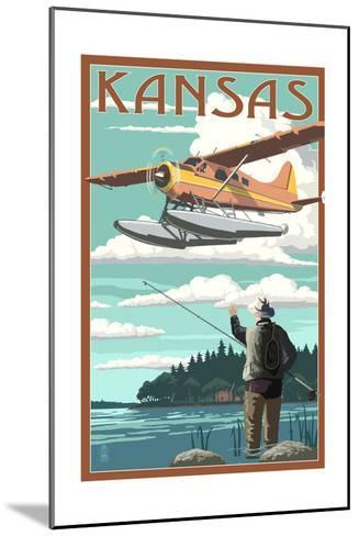Kansas - Float Plane and Fisherman-Lantern Press-Mounted Art Print