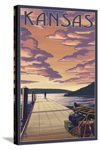 Kansas - Dock Scene and Lake-Lantern Press-Stretched Canvas Print