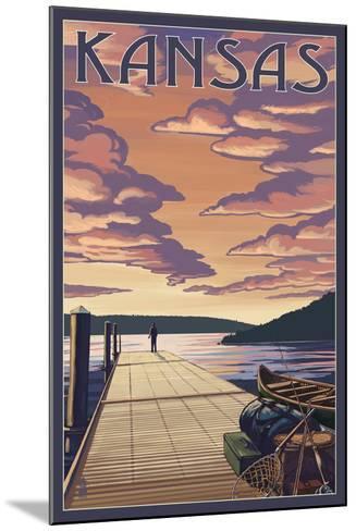 Kansas - Dock Scene and Lake-Lantern Press-Mounted Art Print