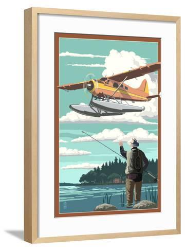 Float Plane and Fisherman-Lantern Press-Framed Art Print