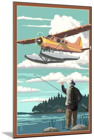Float Plane and Fisherman-Lantern Press-Mounted Art Print