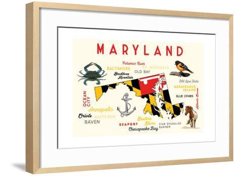 Maryland - Typography and Icons-Lantern Press-Framed Art Print