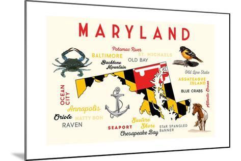 Maryland - Typography and Icons-Lantern Press-Mounted Art Print