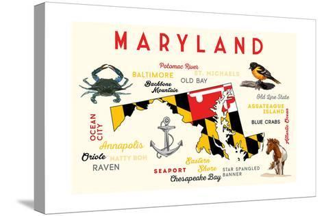 Maryland - Typography and Icons-Lantern Press-Stretched Canvas Print