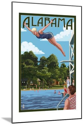 Alabama - Woman Diving and Lake-Lantern Press-Mounted Art Print