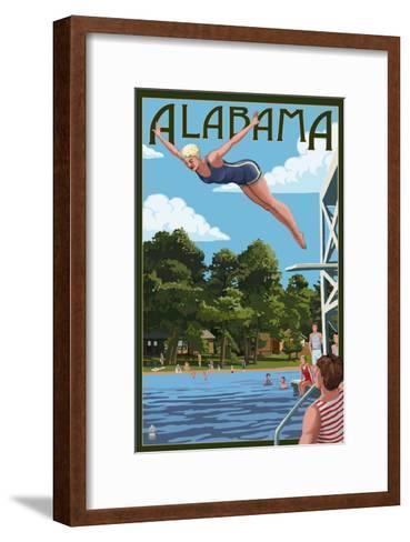 Alabama - Woman Diving and Lake-Lantern Press-Framed Art Print