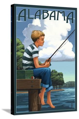 Alabama - Boy Fishing-Lantern Press-Stretched Canvas Print