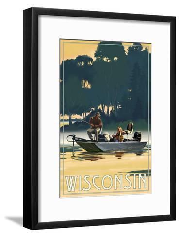 Wisconsin - Fishermen in Boat-Lantern Press-Framed Art Print