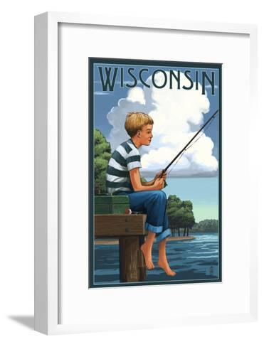 Wisconsin - Boy Fishing-Lantern Press-Framed Art Print