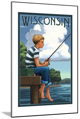 Wisconsin - Boy Fishing-Lantern Press-Mounted Art Print