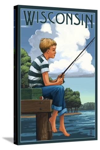 Wisconsin - Boy Fishing-Lantern Press-Stretched Canvas Print