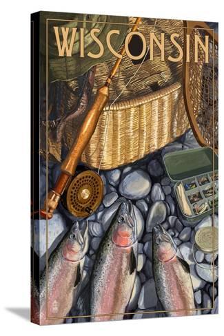 Wisconsin - Fishing Still Life-Lantern Press-Stretched Canvas Print