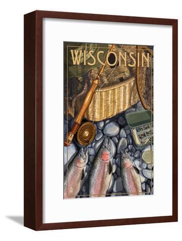 Wisconsin - Fishing Still Life-Lantern Press-Framed Art Print