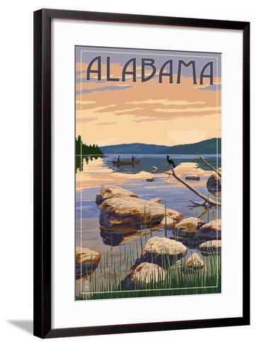Alabama - Lake Sunrise Scene-Lantern Press-Framed Art Print
