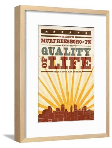 Murfreesboro, Tennessee - Skyline and Sunburst Screenprint Style-Lantern Press-Framed Art Print