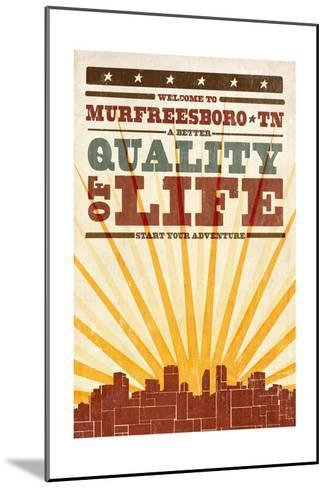Murfreesboro, Tennessee - Skyline and Sunburst Screenprint Style-Lantern Press-Mounted Art Print