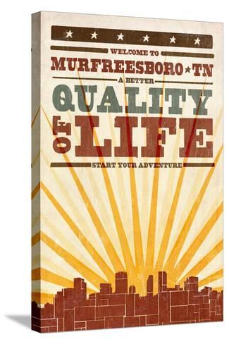 Murfreesboro, Tennessee - Skyline and Sunburst Screenprint Style-Lantern Press-Stretched Canvas Print