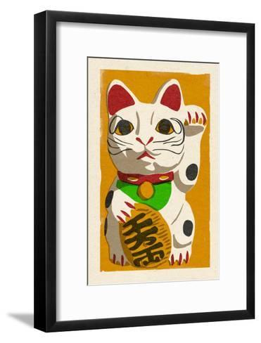 Maneki Neko - Woodblock-Lantern Press-Framed Art Print