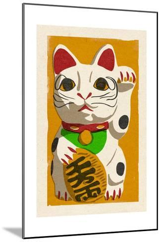 Maneki Neko - Woodblock-Lantern Press-Mounted Art Print