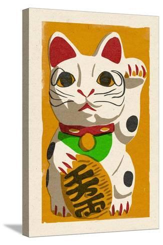 Maneki Neko - Woodblock-Lantern Press-Stretched Canvas Print