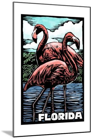 Florida - Flamingo - Scratchboard-Lantern Press-Mounted Art Print