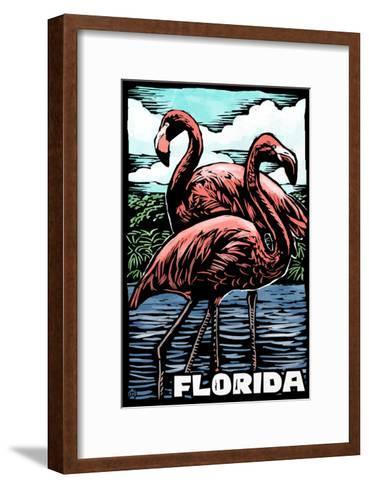 Florida - Flamingo - Scratchboard-Lantern Press-Framed Art Print